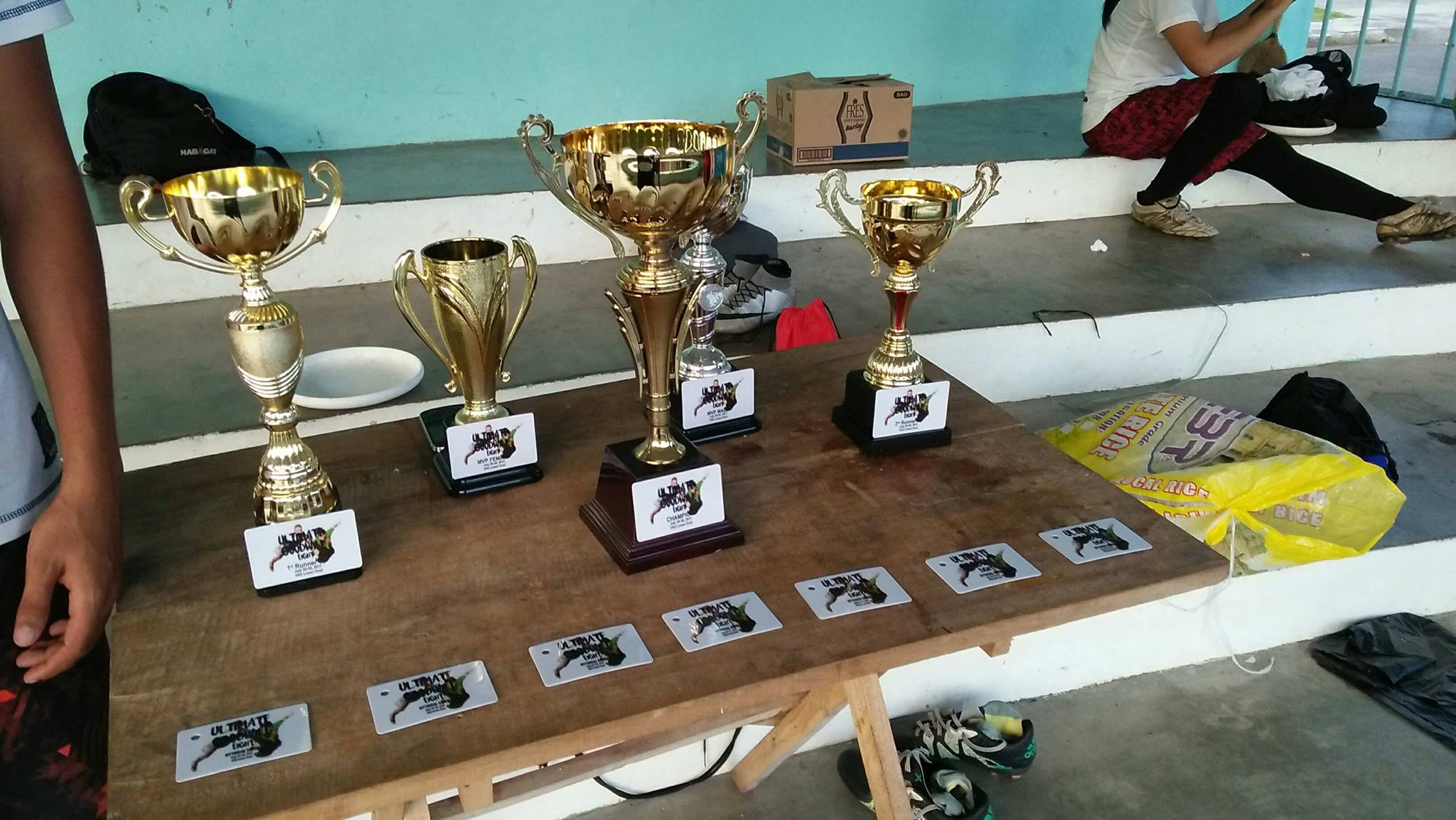 TRIUMPH. Trophies for the winners of the 8th Visayas-wide Frisbee Tournament.