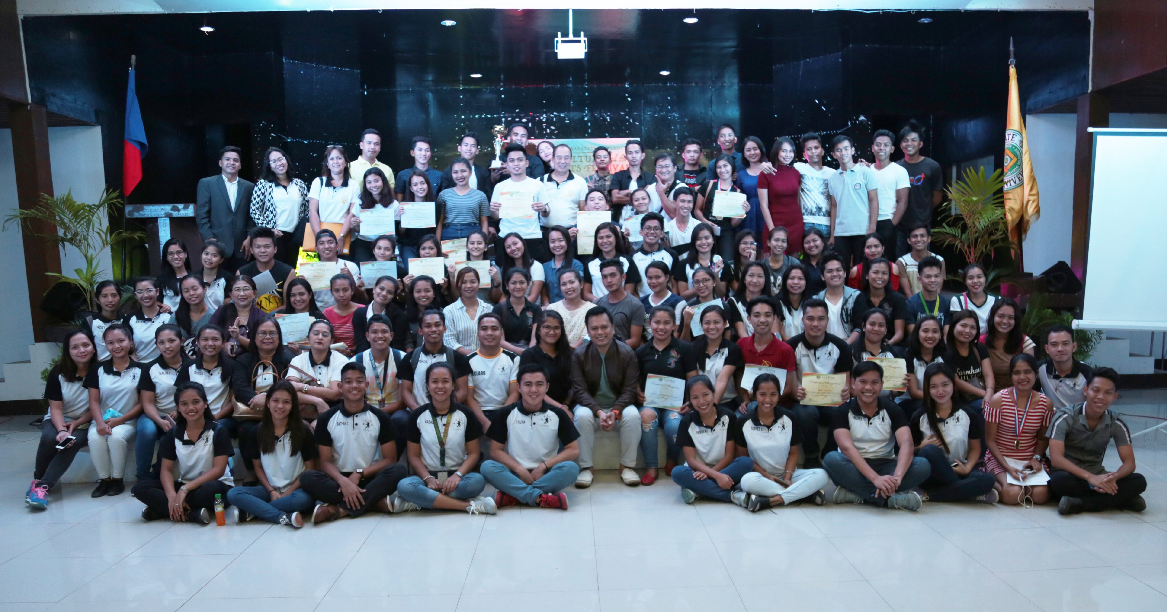 CULTURE & ARTS. Professor Jesusito Lim, Head of the VSU Culture and the Arts Center, with the working committees and contestants of the 2nd Culture and Arts Festival.
