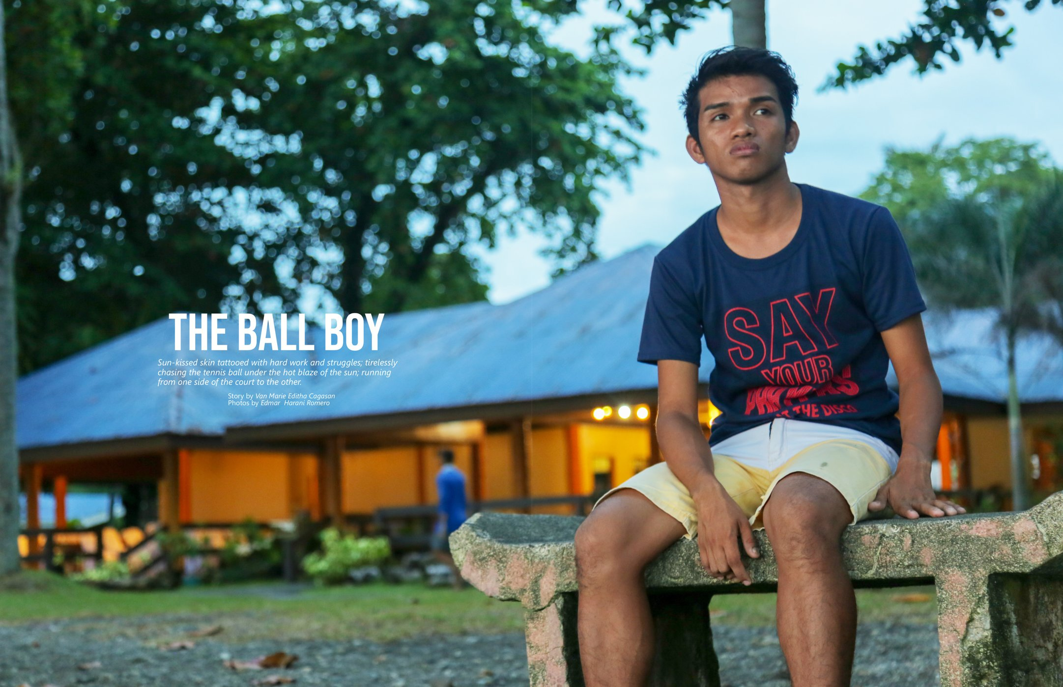 VISCAN BALL BOY. As a ball boy, Aldrick's job is to retrieve and supply tennis balls while the athletes play.